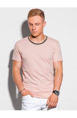 Мужская футболка без принта S1385 - персиковый - Ombre