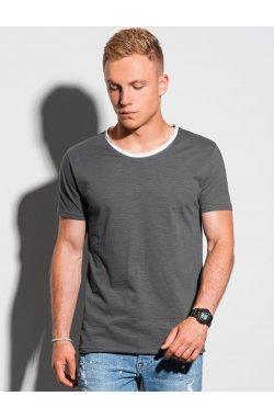 Мужская футболка без принта S1385 - графитный - Ombre