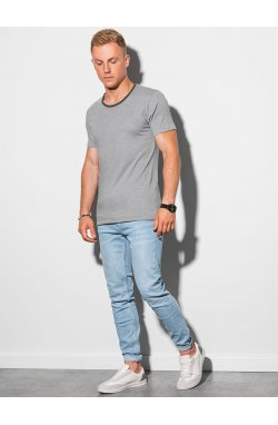 Мужская футболка без принта S1385 - серый - Ombre