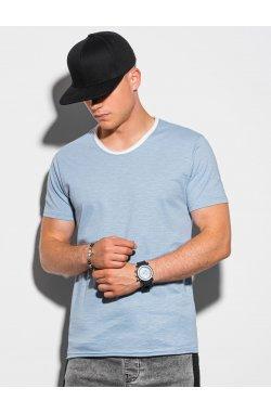 Мужская футболка без принта S1385 - светло-синий - Ombre