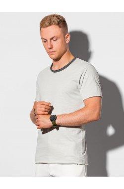 Мужская футболка без принта S1385 - светло-серый - Ombre