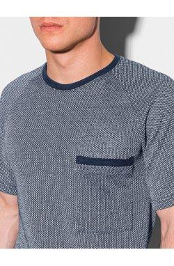 Мужская футболка без принта S1460 - темно-синий - Ombre