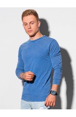 Мужской лонгсливер без принта L131 - темно-синий - Ombre