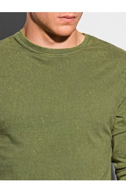 Мужской лонгсливер без принта L131 - оливковый - Ombre