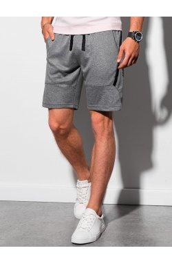 Мужские шорты короткие спортивные W296 - чёрный меланж - Ombre