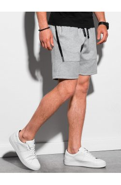 Мужские шорты короткие спортивные W296 - серый меланж - Ombre