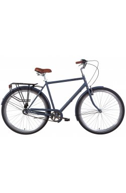 """Городской Велосипед Велосипед 28"""" Dorozhnik COMFORT MALE планет. 2021 (серый с черным (м))"""