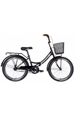"""Городской; Складные Велосипед Велосипед 24"""" Formula SMART с корзиной 2021 (черно-оранжевый)"""