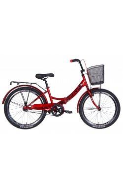 """Городской; Складные Велосипед Велосипед 24"""" Formula SMART с корзиной 2021 (вишневый)"""