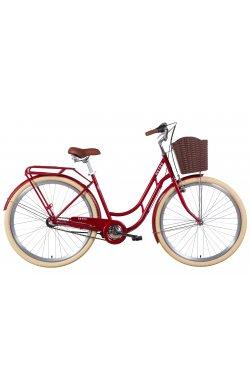 """Городской Велосипед Велосипед 28"""" Dorozhnik RETRO планет. 2021 (рубиновый)"""