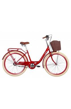 """Городской Велосипед Велосипед 26"""" Dorozhnik LUX планет. 2021 (рубиновый)"""
