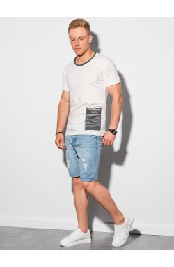 Мужская футболка с принтом S1383 - белый - Ombre