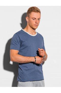 Мужская футболка без принта S1385 - темно-синий - Ombre