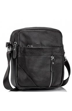 Мужская черная сумка через плечо Tiding Bag M38-1031A - натуральная кожа, черный