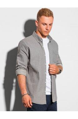 Мужская рубашка с длинным рукавом K566 - светло-серый - Ombre