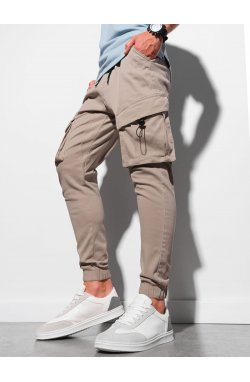 Мужские брюки джоггеры P1026 - бежевый - Ombre
