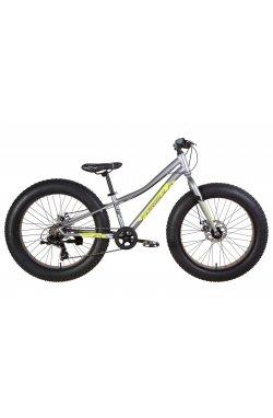 """Подростковый; Фэтбайки Велосипед Велосипед 24"""" Formula PALADIN 2021 (серо-зелёный с черным (м))"""