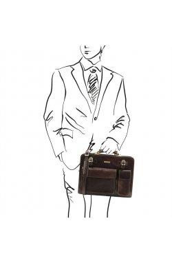 TL141268 Темно-коричневый Venezia - Кожаный портфель на 2 отделения от Tuscany