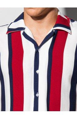 Мужская рубашка с коротким рукавом K575 - белый/темно-синий - Ombre