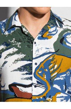 Мужская рубашка с коротким рукавом K574 - белый/зелёный - Ombre
