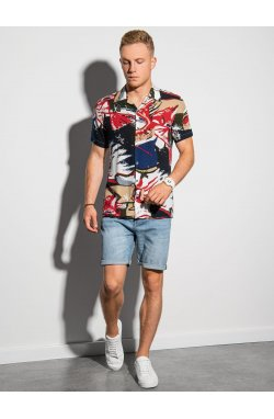 Мужская рубашка с коротким рукавом K574 - белый/красный - Ombre
