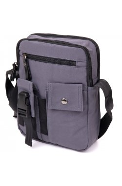 Универсальная текстильная мужская сумка на два отделения Vintage 20659 Графитовая