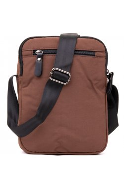 Универсальная текстильная мужская сумка на два отделения Vintage 20661 Коричневая