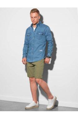 Мужская рубашка с длинным рукавом K567 - синий - Ombre