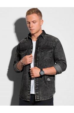 Мужская рубашка с длинным рукавом K567 - чёрный - Ombre
