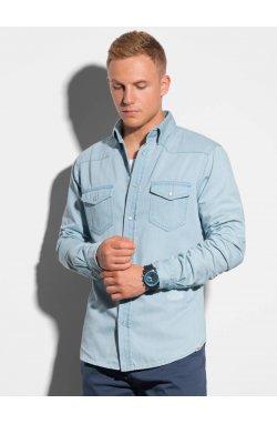 Мужская рубашка с длинным рукавом K567 - светло-синий - Ombre
