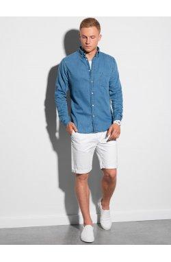Мужская рубашка с длинным рукавом K568 - синий - Ombre