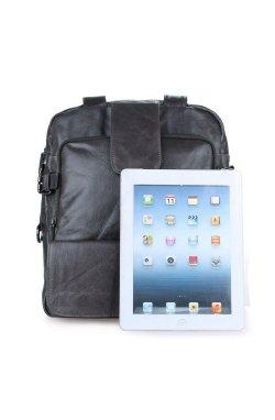 Вертикальная кожаная сумка трансформер: рюкзак, сумка, крос-боди, серая 7065J Черный