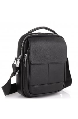Мужская сумка через плечо классическая Tiding Bag NM23-2301A - натуральная кожа, черный