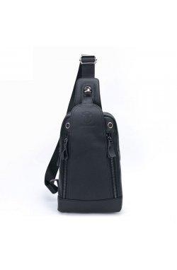 Мини-рюкзак кожаный на одно плечо T1337 BULL черный Черный