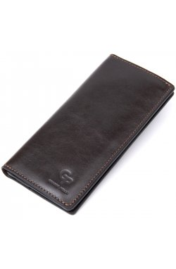 Кожаное глянцевое портмоне GRANDE PELLE 11469 Темно-коричневый
