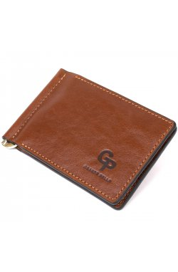 Мужской кожаный зажим для денег GRANDE PELLE 11474 Коричневый