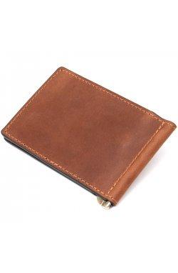 Мужской кожаный винтажный зажим GRANDE PELLE 11477 Коричневый