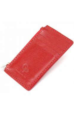 Яркий кожаный картхолдер GRANDE PELLE 11497 Красный