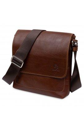 Кожаная мужская сумка через плечо GRANDE PELLE 11567 Коричневый
