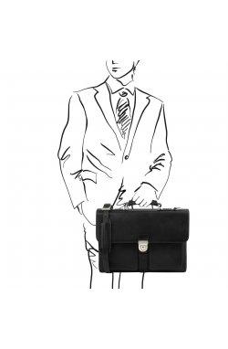 TL141825 Assisi Черный Кожаный портфель на 3 отделения от Tuscany Черный