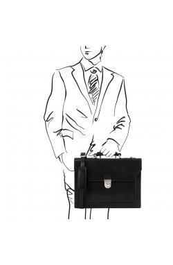 TL141732 Cremona - Черный итальнский кожаный портфель на 3 отделения от Tuscany Черный