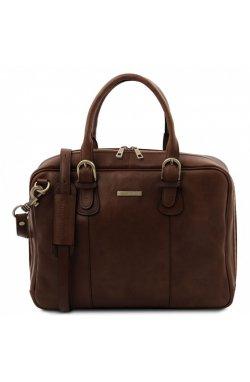 TL142080 Matera - кожаная сумка портфель с множеством отделений, цвет: Темно-коричневый Коричневый
