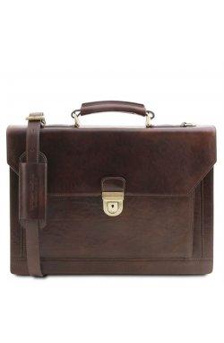 TL141732 Темно-коричневый Cremona - кожаный портфель на 3 отделения от Tuscany