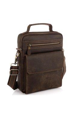 Мужская сумка через плечо из натуральной кожи с ручкой Tiding Bag t0038C, коричневый