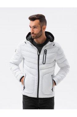 Мужская куртка демисезонная стеганая C356 - белый - Ombre