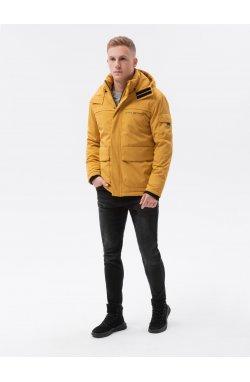 Мужская зимняя куртка C504 - горчичный - Ombre