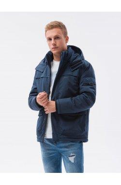 Мужская зимняя куртка C504 - темно-синий - Ombre