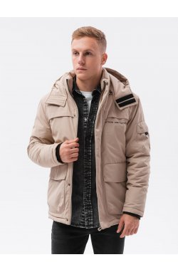Мужская зимняя куртка C504 - бежевый - Ombre
