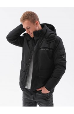 Мужская зимняя куртка C504 - чёрный - Ombre