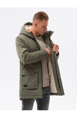 Мужская зимняя куртка C517 - оливковая - Ombre